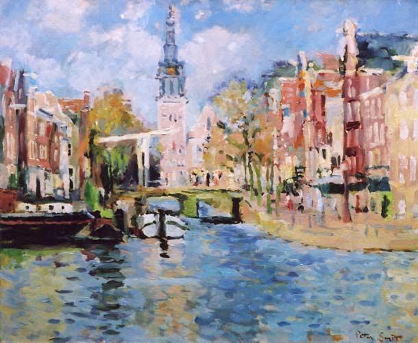 schilderij stadsgezicht amsterdam
